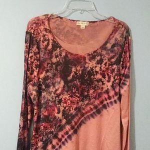 Blush & Tie Dye Print Size Xl Tunic Sweater